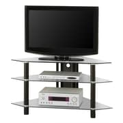 Walker Edison Bermuda 44 Glass Corner TV Stand, Clear/Black