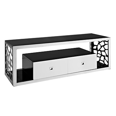 Walker Edison 60in. Glass TV Stand, Black/White/Silver