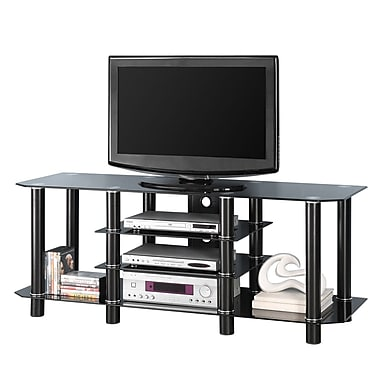 Walker Edison Dynasty 60in. Glass TV Stand, Black