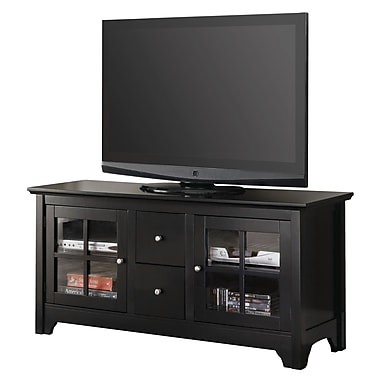 Walker Edison 52in. Wood TV Console With Drawers, Matte Black