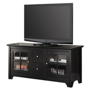 "Walker Edison 52"" Wood TV Console With Drawers, Matte Black"