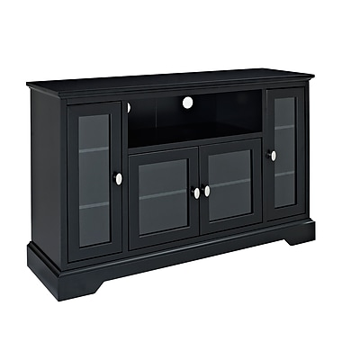 Walker Edison 52in. Highboy Style Wood TV Stand, Matte Black