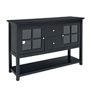 "Walker Edison 52"" Wood TV Console Table, Matte Black"
