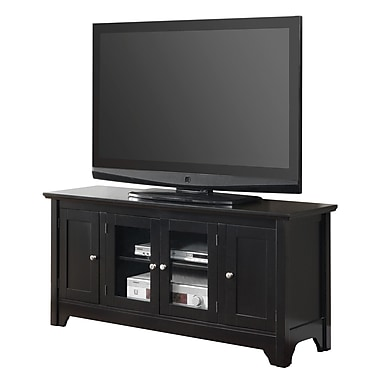 Walker Edison 52in. Wood TV Console With Four Doors, Black