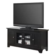 "Walker Edison 52"" Wood TV Console With Four Doors, Black"
