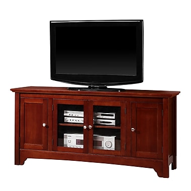 Walker Edison 52in. Wood TV Console With Four Doors, Walnut Brown