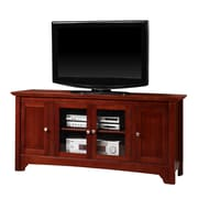 Walker Edison 52 Wood TV Console With Four Doors, Walnut Brown