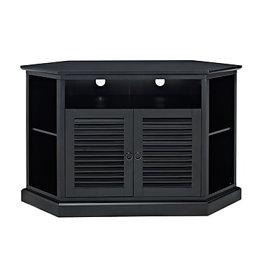 Walker Edison 52in. Wood Corner TV Stand, Matte Black
