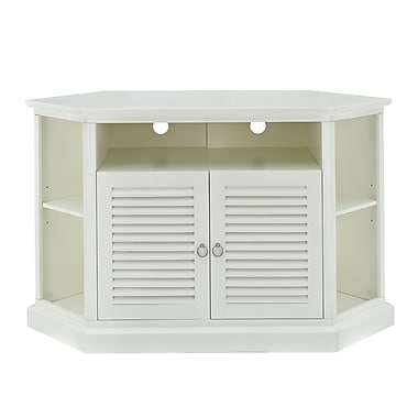 Walker Edison 52in. Wood Corner TV Stand, White