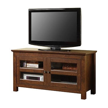 Walker Edison Coronado 44in. Corner Wood TV Console, Traditional Brown