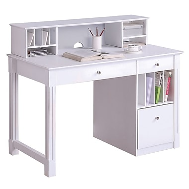 Walker Edison Deluxe 48in. x 24in. x 30in. Wood Storage Desk With Hutch, White