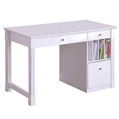 Walker Edison Deluxe 48in. x 24in. x 30in. Wood Storage Desk, White