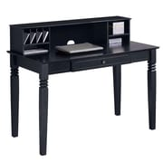 Walker Edison Elegant 48 x 24 x 30 Wood Writing Desk With Hutch, Black