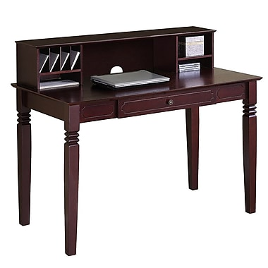 Walker Edison Elegant 48in. x 24in. x 30in. Wood Writing Desk With Hutch, Walnut Brown