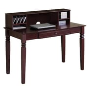 Walker Edison Elegant 48 x 24 x 30 Wood Writing Desk With Hutch, Walnut Brown