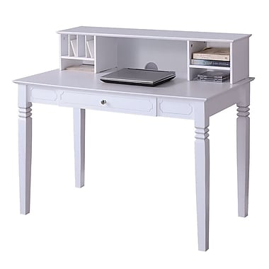 Walker Edison Elegant 48in. x 24in. x 30in. Wood Writing Desk With Hutch, White