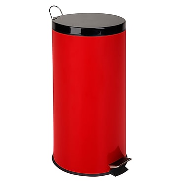 Honey Can Do® 30 Liter Round Trash Can With Steel Step, Ruby Red
