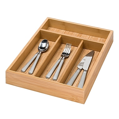 Honey Can Do® Bamboo 4Compartment Cutlery Tray, 14in.(L)