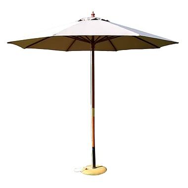 International Concepts Wooden Pole/Fabric 9' Market Umbrella, Natural
