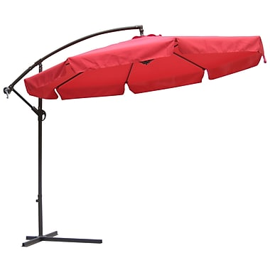 International Concepts Stee/Fabric 10' Offset Market Umbrella With Stand