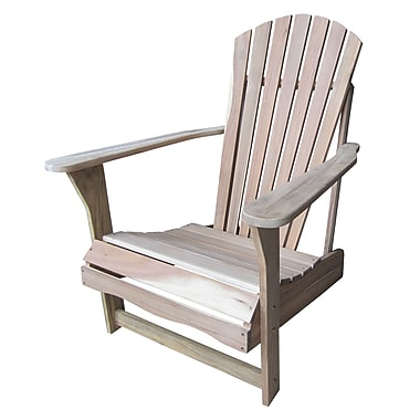 International Concepts Solid Acacia Wood Adirondack Chair, Unfinished