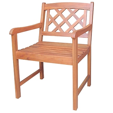 International Concepts Acacia Wood Latticeback Arm Chair, Olied