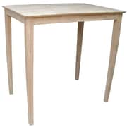 "International Concepts 42"" x 30"" x 42"" Rectangle Solid Wood Top Pedestal Table W/Shaker Legs"