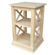 "International Concepts 26"" x 16"" x 16"" Wood Hampton Accent Table With Shelves, Unfinished"