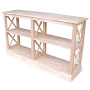 "International Concepts 34 1/2"" x 60"" x 16"" Wood Hampton Sofa Server Table w/ Shelf, Unfinished"