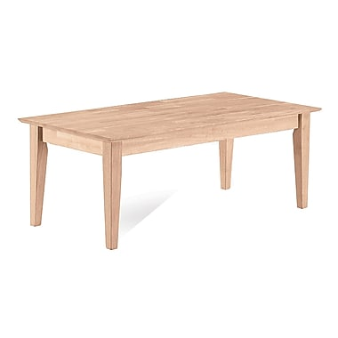 Whitewood Industries Shaker Wood Coffee Table, Unfinished, Each (OT-9TC)
