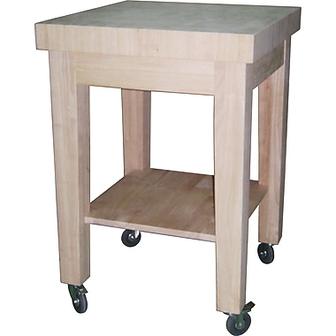 International Concepts Solid Parawood Butcher Block Island With Shaker Leg And Castors, Unfinished