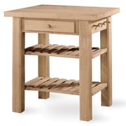 International Concepts Solid Parawood Kitchen Island, Unfinished