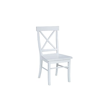 International Concepts Solid Wood X-Back Chair, Linen White