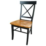 International Concepts Solid Wood X-Back Chair, Black/Cherry