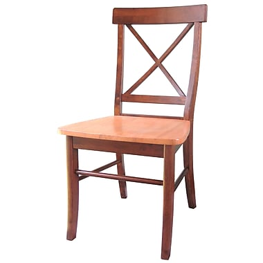 International Concepts Solid Wood X-Back Chair, Cinnamon/Espresso