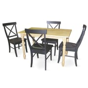 International Concepts 5 Piece Solid Wood Dining Table Set W/X Back Chairs, Natural/Black