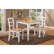 """International Concepts 30"""" Wood Dining Table Set, White/Natural"""