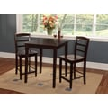 International Concepts 36in. Square Solid Wood Counter Height Table W/2 Madrid Stools, Rich Mocha