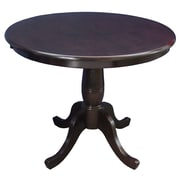 "International Concepts 30"" x 30"" Solid Wood Round Top Pedestal Table, Rich Mocha"