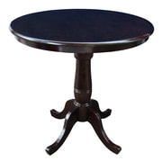 International Concepts 36 X 30 Solid Wood Round Top Pedestal Table, Rich Mocha