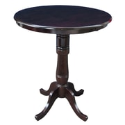 International Concepts 42 X 30 Solid Wood Round Top Pedestal Table, Rich Mocha