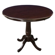 International Concepts 36 X 36 Solid Wood Round Top Pedestal Table, Rich Mocha