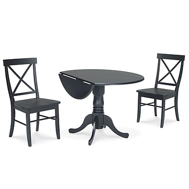 International Concepts 3 Piece 29 1/2in. Wood Dual Drop Leaf Dining Set, Black
