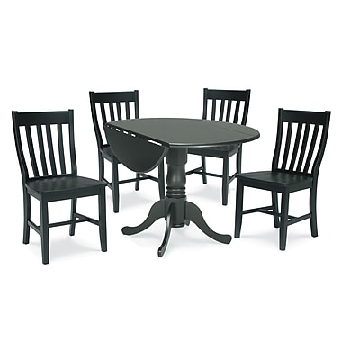 International Concepts 5 Piece 29 1/2in. Wood Dual Drop Leaf Dining Set W/Schoolhouse Chairs, Black