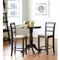 International Concepts 3 Piece Round Top Solid Wood Dining Table Set, Black/Cherry