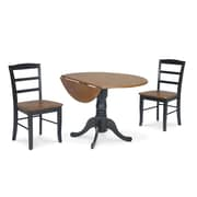 "International Concepts 3 Piece 29 1/2"" Solid Wood Dual Drop Leaf Dining Set, Black/Cherry"