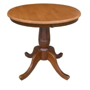 International Concepts 30 X 30 Solid Wood Round Top Pedestal Table, Cinnamon/Espresso