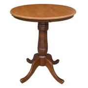 International Concepts 36 X 30 Solid Wood Round Top Pedestal Table, Cinnamon/Espresso