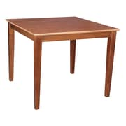 "International Concepts 30"" x 36"" x 36"" Square Solid Wood Table W/Shaker Legs, Cinnemon/Espresso"