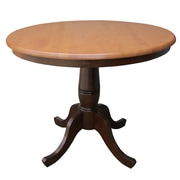 "International Concepts 30"" x 36"" Solid Wood Round Top Pedestal Table, Cinnamon/Espresso"